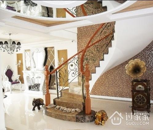 227平白色北欧别墅欣赏楼梯间