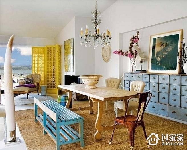 彩色混搭风三居室装修案例