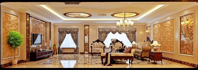 简欧奢华四居室欣赏客厅背景墙