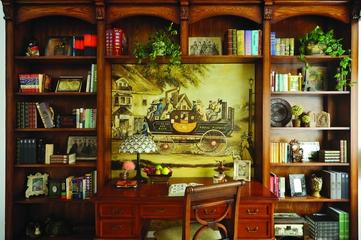 地中海效果图套图书架背景墙
