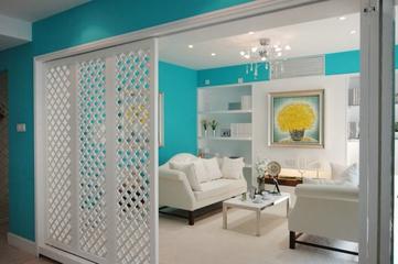 98平蓝色地中海住宅欣赏客厅设计