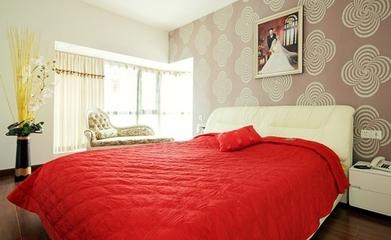 卧室床品装饰效果图 温馨又喜庆