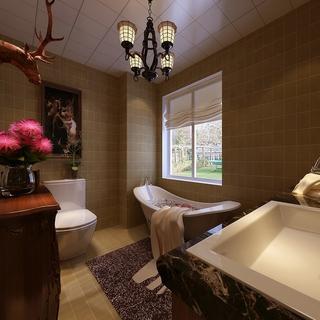 美式风格案例效果图欣赏卫生间陈设