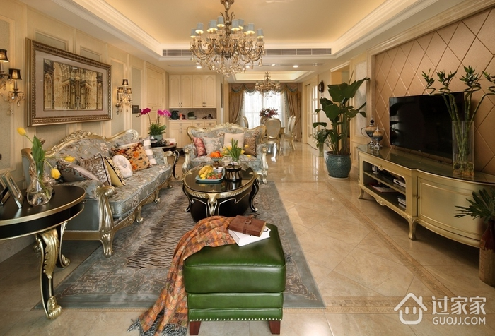 95平浪漫欧式风格三居室装修