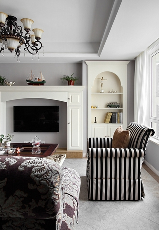 92平三居室美式家居客厅背景墙欣赏