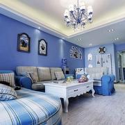 112平蓝色地中海住宅欣赏客厅照片墙