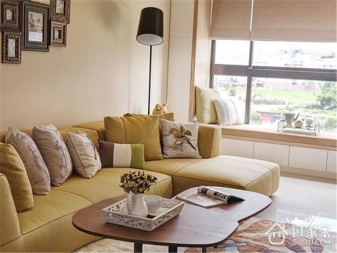清新田园客厅沙发摆放图