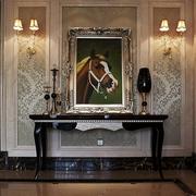 新古典样板间设计室内背景墙有框挂画