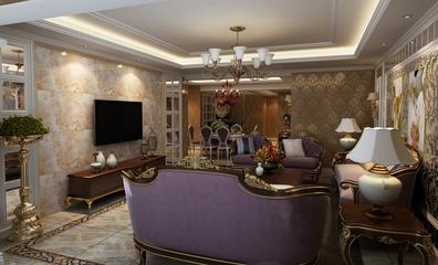 118平简欧三居室案例欣赏客厅背景墙
