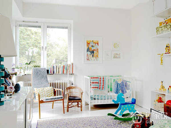 白色北欧两居室案例欣赏儿童房窗户