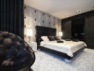 黑白现代奢华住宅欣赏卧室效果