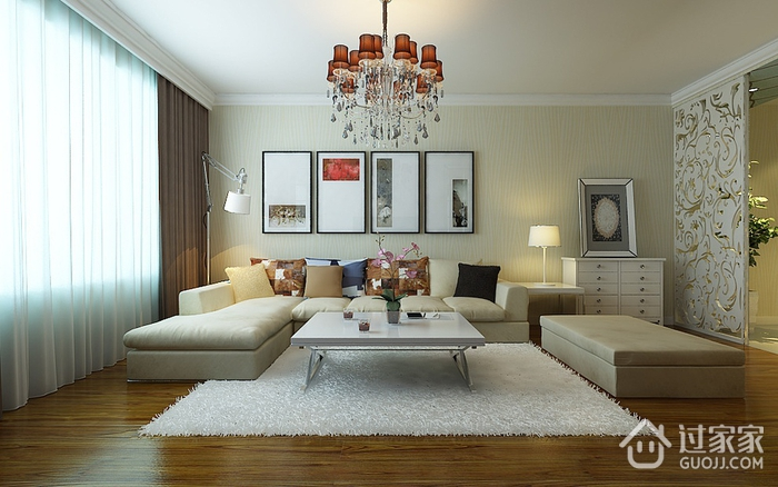 现代客厅窗帘装饰效果图 简约三口之家