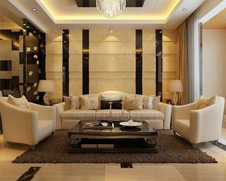 110平新古典三居样板房欣赏客厅背景墙