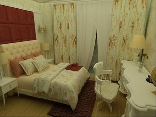 美式乡村大四居欣赏卧室窗帘