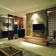 清新中式风电视背景墙效果图
