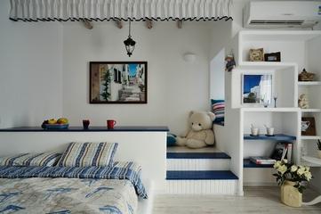 白色地中海两居欣赏卧室