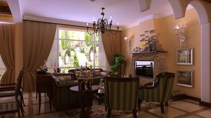 深色欧式稳重住宅欣赏客厅效果