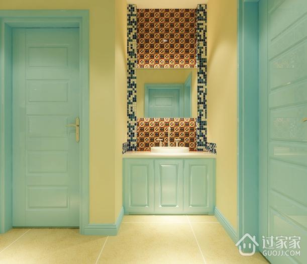 情迷地中海三居室欣赏洗手间背景墙