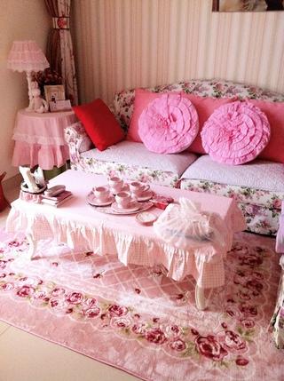 粉色田园公主屋欣赏客厅设计