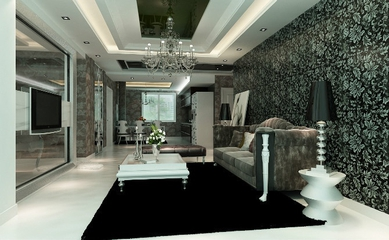 新古典灰雅三居室欣赏客厅背景墙
