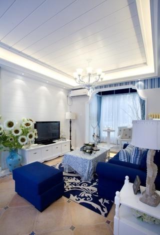 白色地中海三居欣赏客厅吊顶