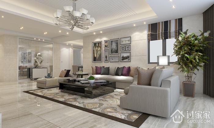 都市现代客厅灯饰效果图 87平精美三居室