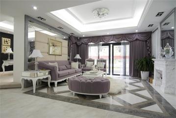 124平欧式三居室欣赏客厅吊顶设计