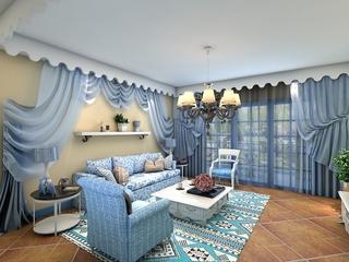 蓝色地中海家居案例欣赏客厅窗帘