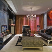 欧式风格样板房客厅电视背景