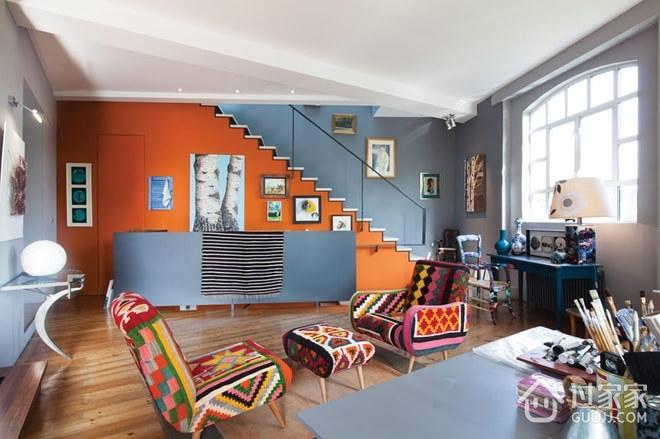 顶层复式装修色彩欣赏客厅