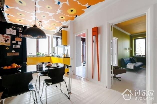 橙色活力一居室欣赏餐厅