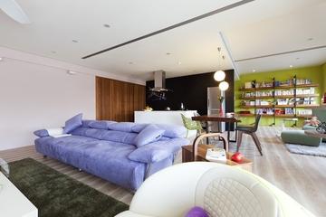 后现代90平三居室效果图客厅