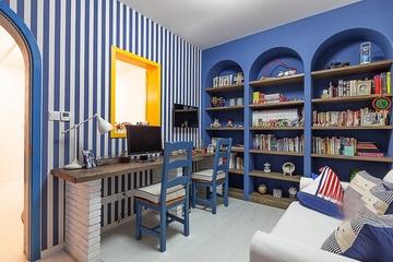 125平蓝白地中海住宅欣赏书房