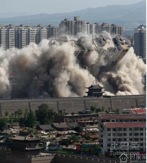 山西大同高楼爆破 为加快古城的保护与复兴