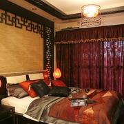 卧室中式红色落地窗帘效果图