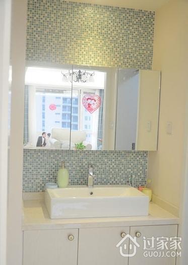 白色浪漫简约两居室欣赏洗手间背景墙