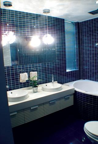 蓝色瓷砖卫生间效果图
