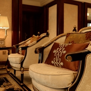 美式客厅单人沙发摆放图 经典家装