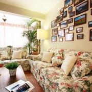 中式田园风客厅布艺沙发