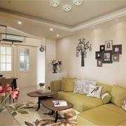 客厅吊顶装修效果图 一家三口的田园美居