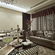 新古典风复式设计客厅窗帘