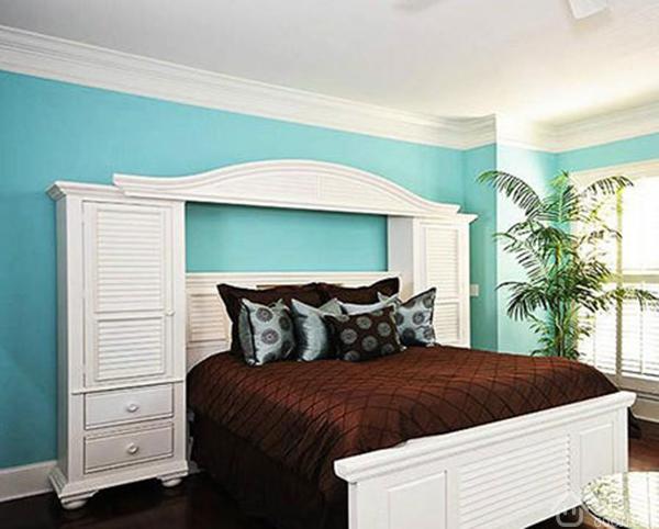 五:蓝色欧式卧室装修效果图