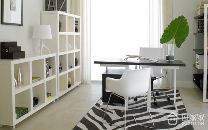 白色现代风两居室欣赏书房
