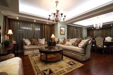 130平美式四室两厅欣赏客厅