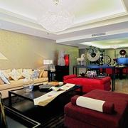 现代中式风格客厅全景图