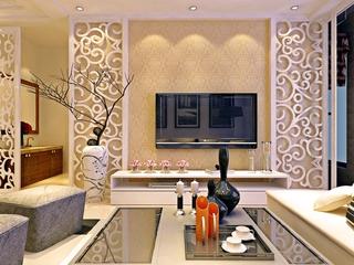 清新简欧客厅背景墙装修 精致大方家居