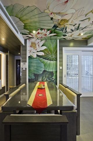 中式风油画背景墙