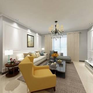 97㎡四居室效果图赏析 灰白搭配设计奢华简欧风