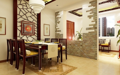 新中式风格三居效果图欣赏餐厅