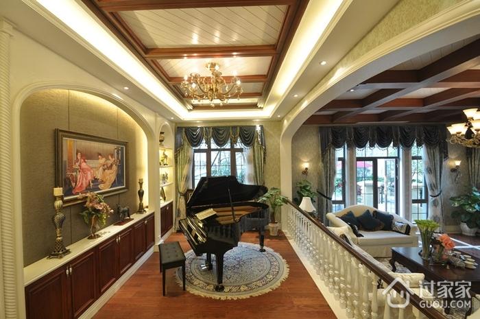 美式別墅鋼琴室裝修效果圖